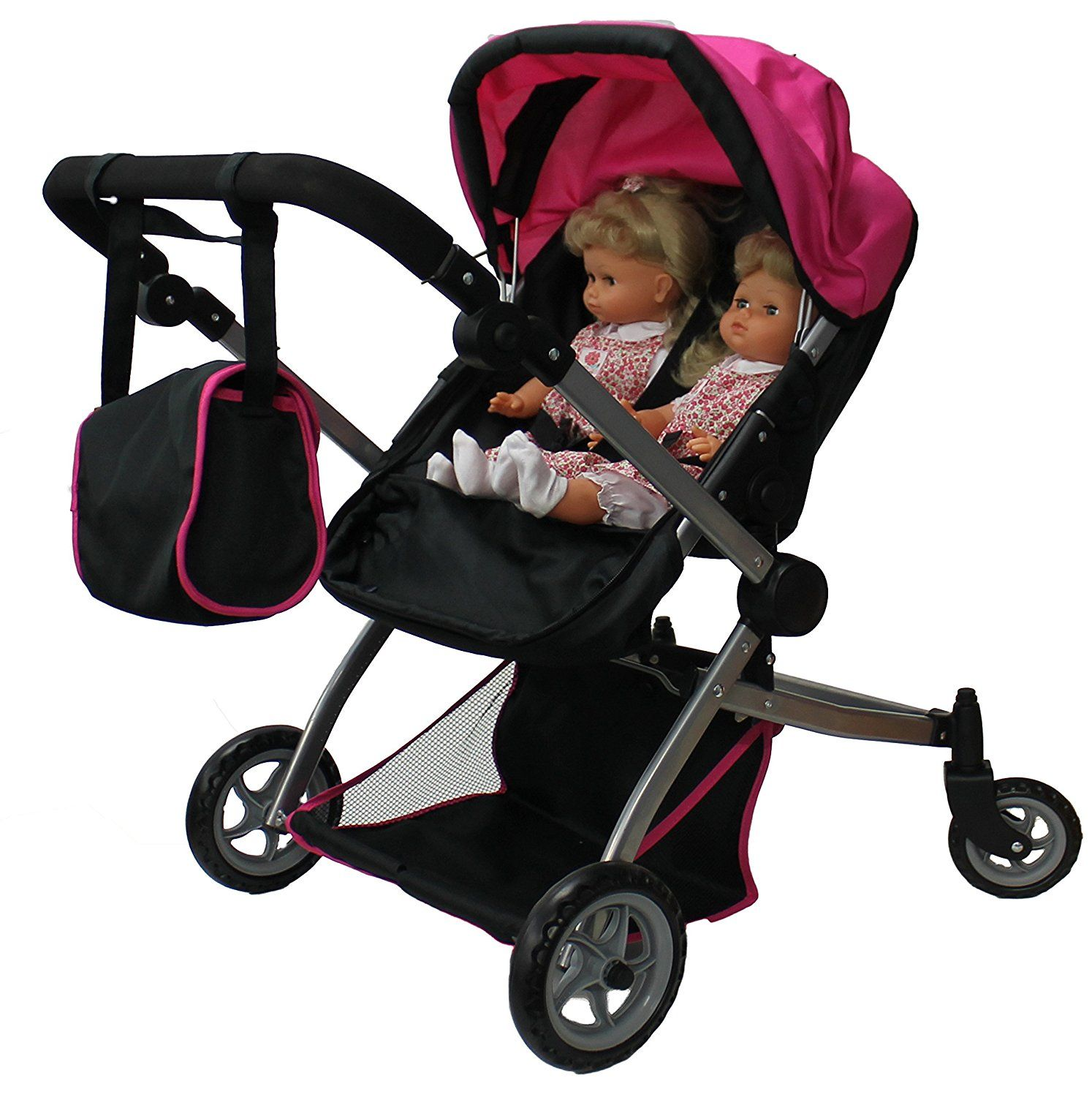 Double Dolls Pram Amazon Amazon Babyboo Deluxe Twin Doll Pram Stroller With Free