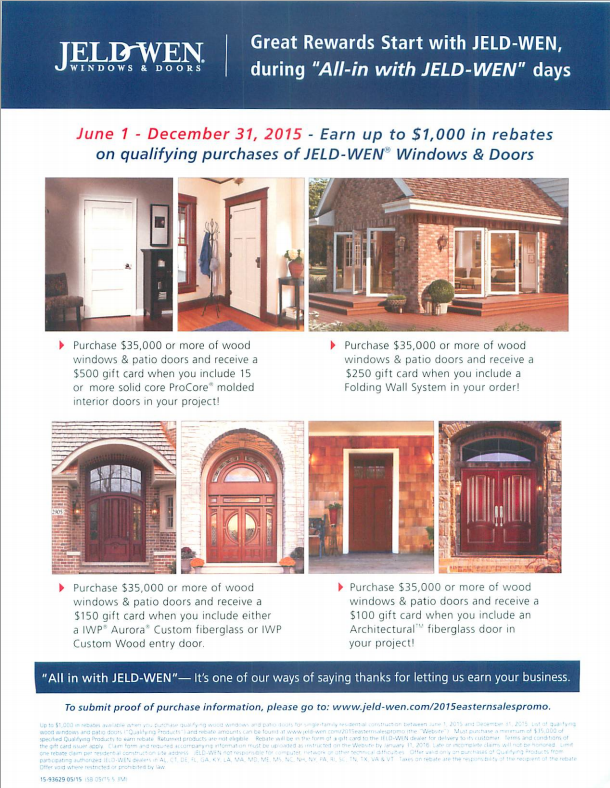 jeldwen windows u0026 doors is offering up to in rebates on qualifying purchases
