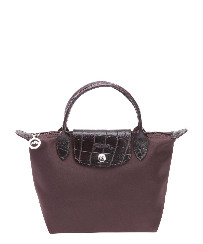 5d03ff6ebf LONGCHAMP Ebony Nylon And Croc-Embossed Leather 'Le Pliage' Mini Tote'. # longchamp #bags #leather #hand bags #pvc #nylon #tote #