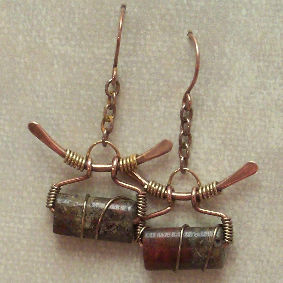Handmade Wire Wrapped Earrings, Copper Wire Rustic Earring, Artisan ...