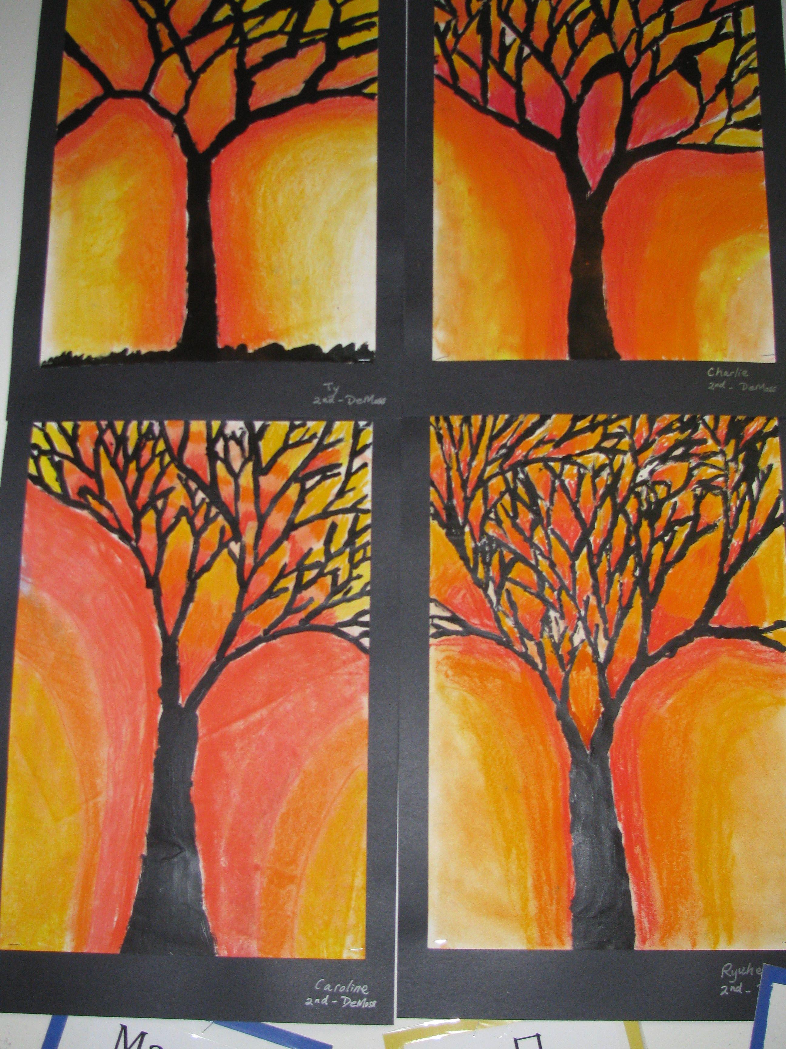 Pastel Tree Paintings By 2nd Graders 12 X 18 Art