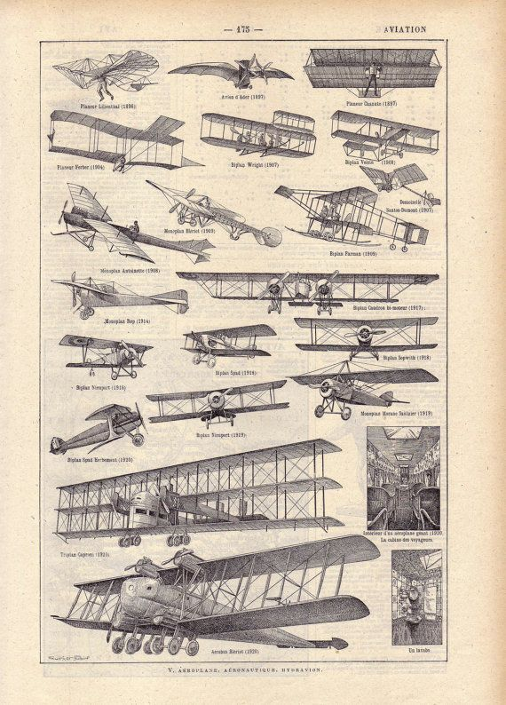 Photo of 1922 Vintage AVIATION French Dictionary Illustration