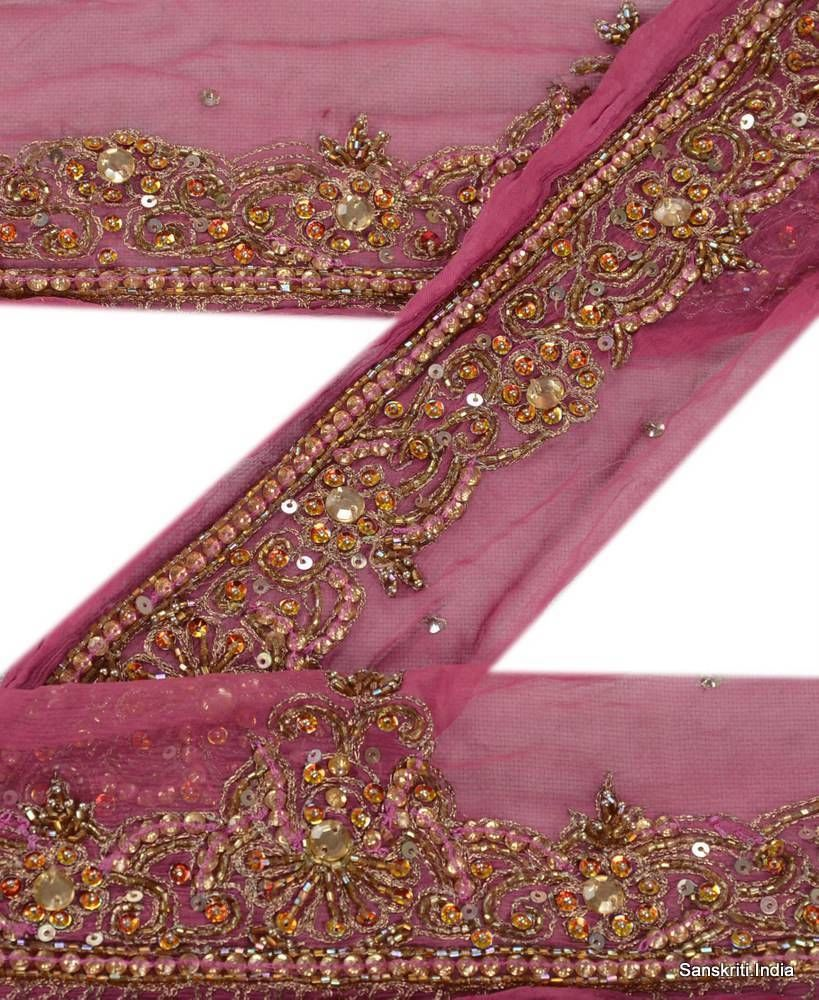 Embellishments & Finishes Reasonable Vintage Sari Border Antique Hand Beaded Trim Sewing Pink Zari Lace
