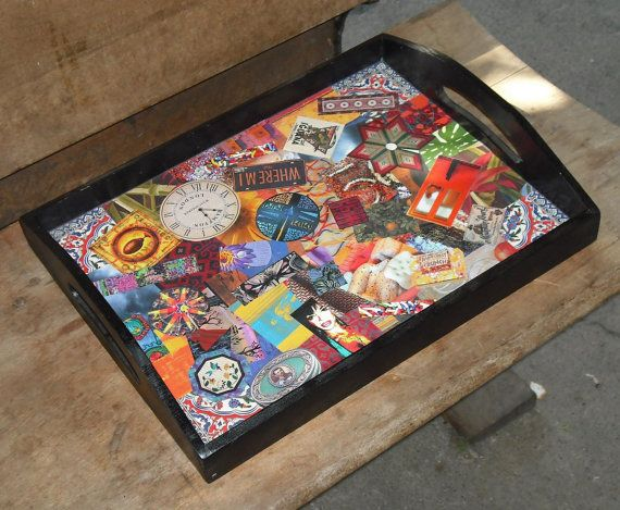 Wood Tray Decoupage Home Decor Box 10 Vintage Cut Outs Art Magazines  Serving Storage
