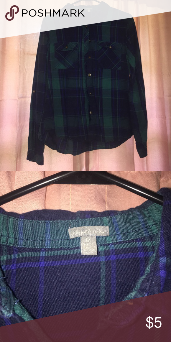 Long Sleeve Flannel It's had it's wear but is still in good condition! SMOKE FREE HOME Charlotte Russe Tops Button Down Shirts