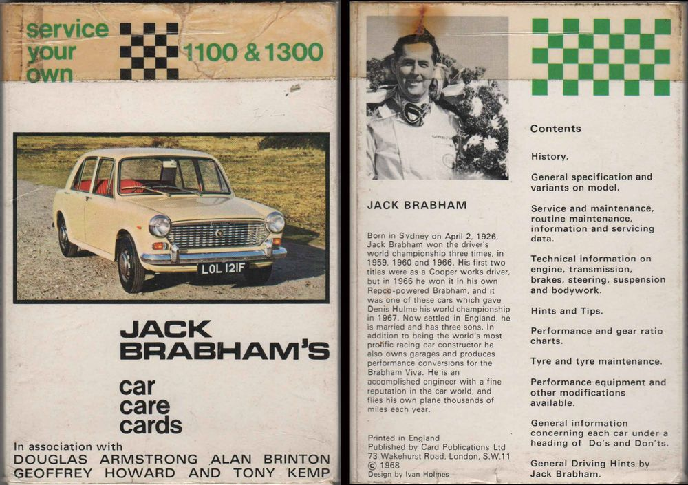 Vintage 1968 Jack Brabham's Car Care Cards Set 20 BMC 1100