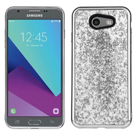 info for 7817f 9d42f Silver Chrome Glitter Flakes Case For Samsung Galaxy J3 Luna Pro ...