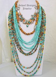 Schaef Designs Spiny oyster, turquoise & Sterling Silver Necklace Pairings | New Mexico