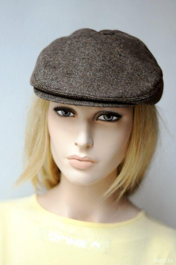 Brown drivers cap Womens newsboy hat Mens newsboy cap Newspaper boy hat  Unisex… d28ded097e53