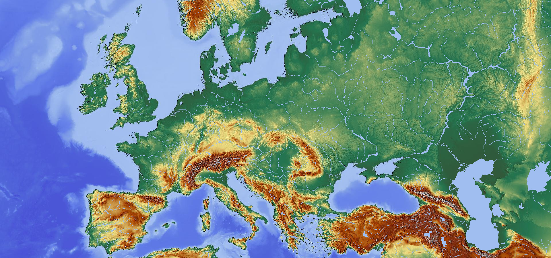 Topography Map Of Europe Pin by Andrew Gloe on My Saves in 2020 | Europe map, Topographic