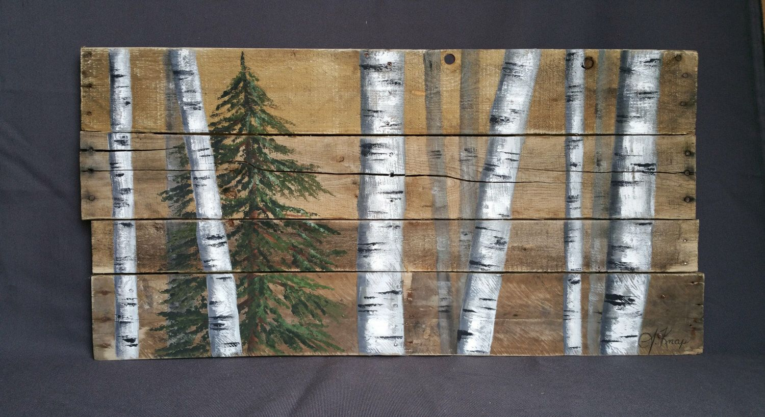 Reclaimed Pallet White Birch Wall Decor Painting Hand