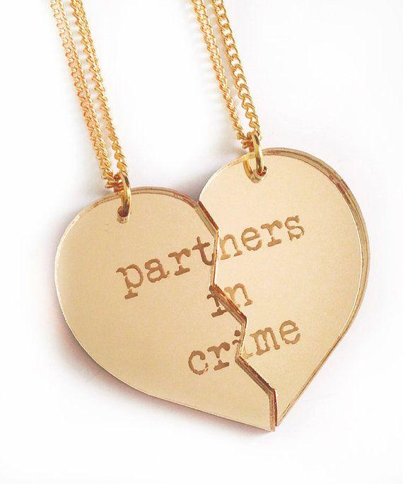 partners in crime friendship necklace set gold split. Black Bedroom Furniture Sets. Home Design Ideas