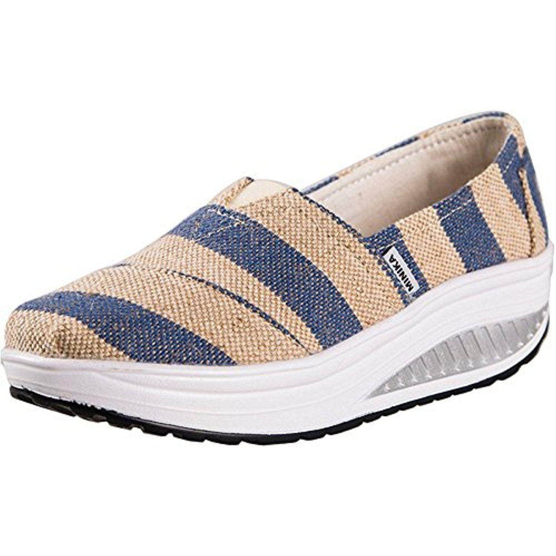 9e589668e2119 Women's Platforms Fitness Slip On Canvas Sandals Athletic Walking ...