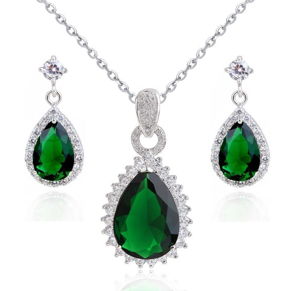 78bf7dd4a 18K White Gold Plated Green Swarovski Crystals Set Necklace Earrings ...