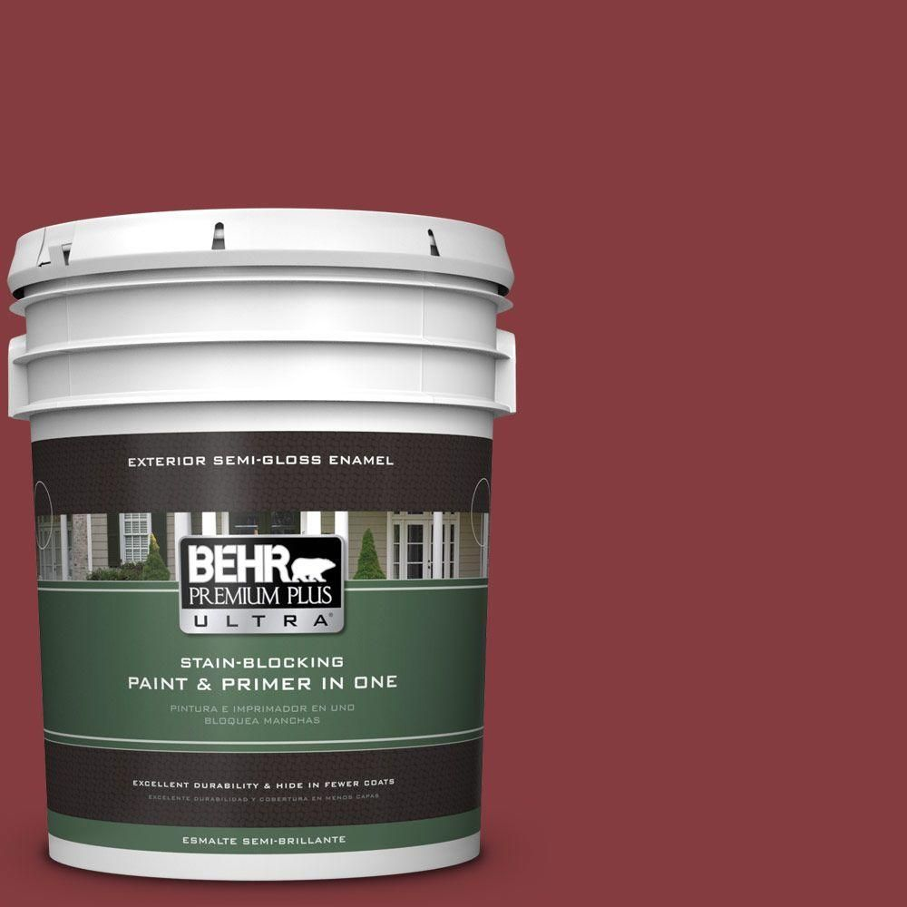 BEHR Premium Plus Ultra 5-gal. #M140-7 Dark Crimson Semi-Gloss Enamel Exterior Paint