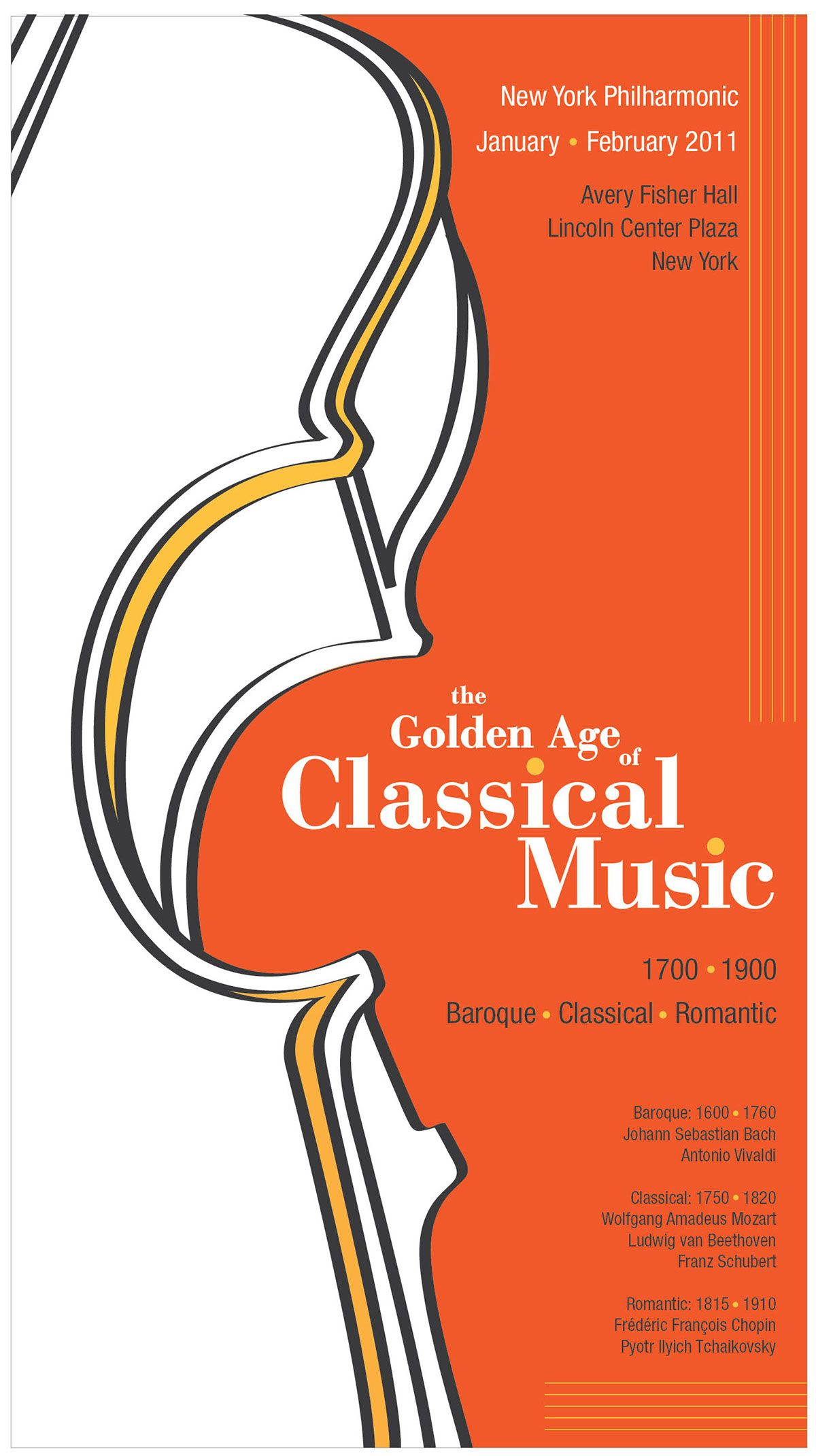 This poster and brochure design present Classical music in a new way. Fresh and exciting with bold color choices, the design is modern and yet still compliments this traditional subject.