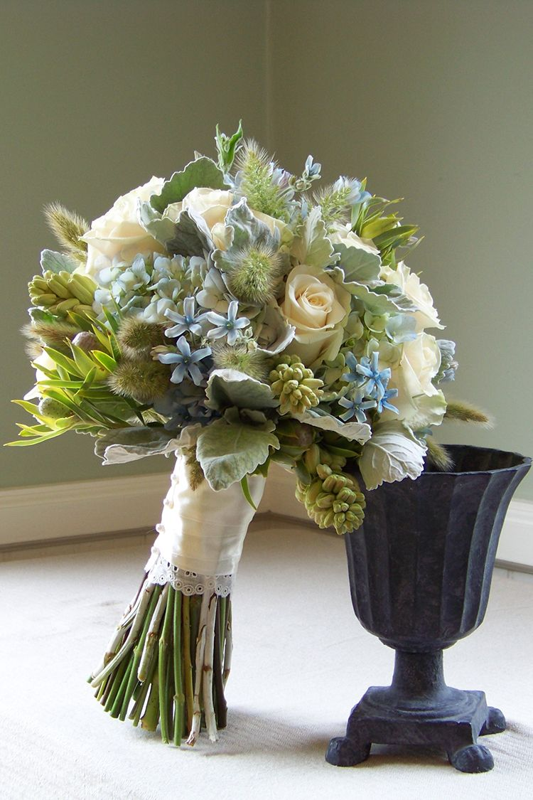 Blue Green And Ivory Bridal Bouquet With Tweedia Hydrangea