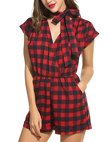 3cfb86434b1 Locryz Women s Short Sleeve Plaid Casual Rompers Short Jumpsuits Playsuits  with Belt S-XXL