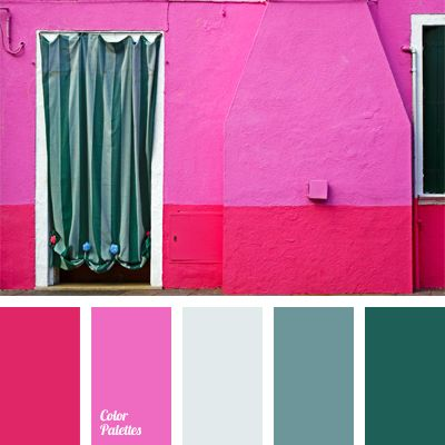 blue-green, bluish-gray color, bright color of fuchsia, bright pink ...