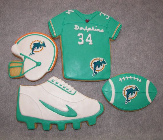 Miami Dolphin Football Cookies by ruthiescookies on Etsy, $48.00