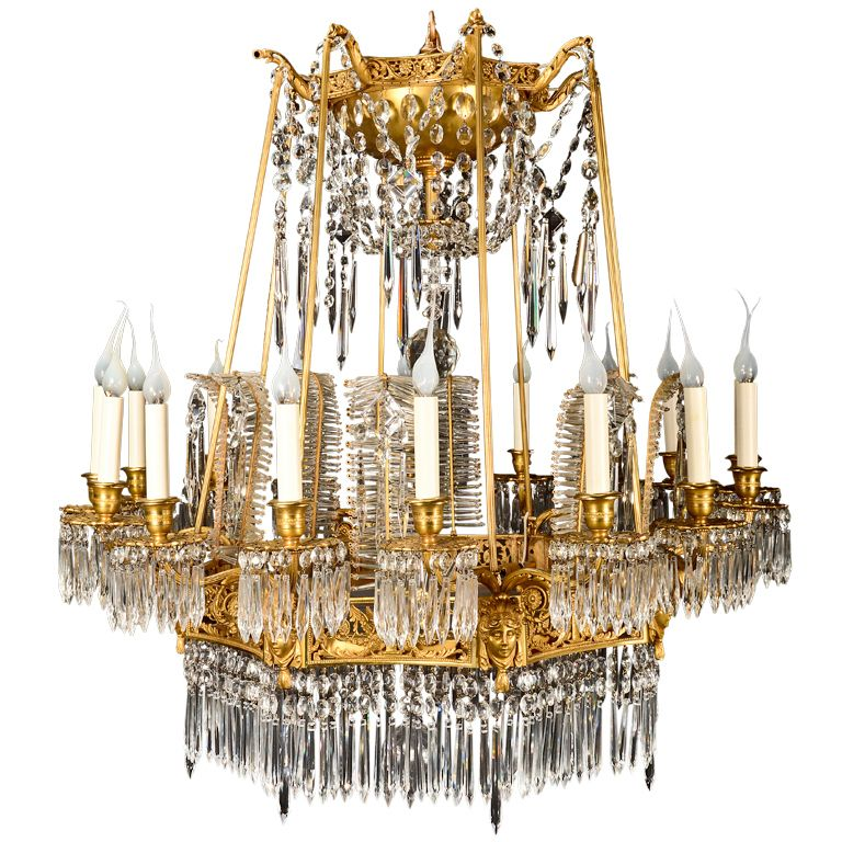 Important Antique Russian Gilt Bronze and Cut Crystal Chandelier.