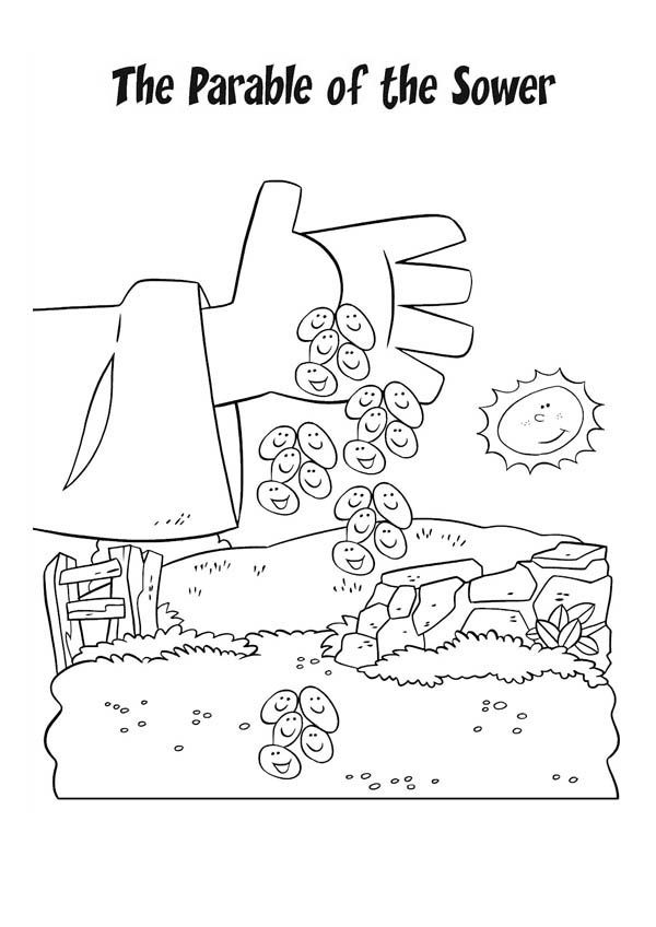 Falling Seed From Farmer Hand In Parable Of The Sower Coloring