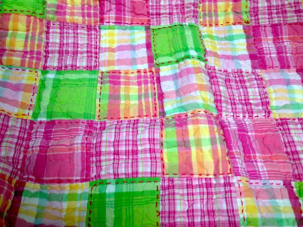 2pc Pottery Barn Kids Pink Madras Twin Quilt St Sham