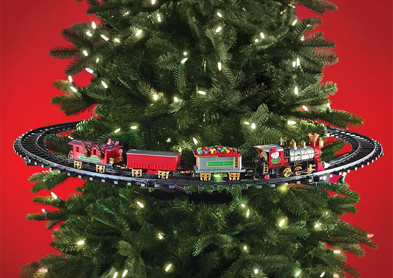 This fun and festive working train set encircles the middle of a Christmas tree by attaching directly to the inner trunk and features an engine, cargo and passenger cars, and a caboose all decorated up for the holidays.