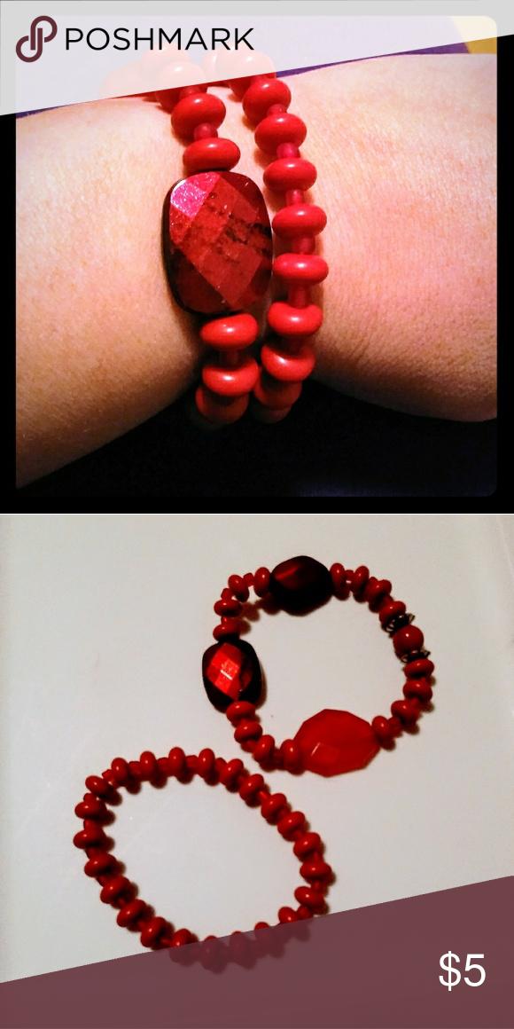 2 Red Bracelets 2 red bead stretch bracelets. Jewelry Bracelets
