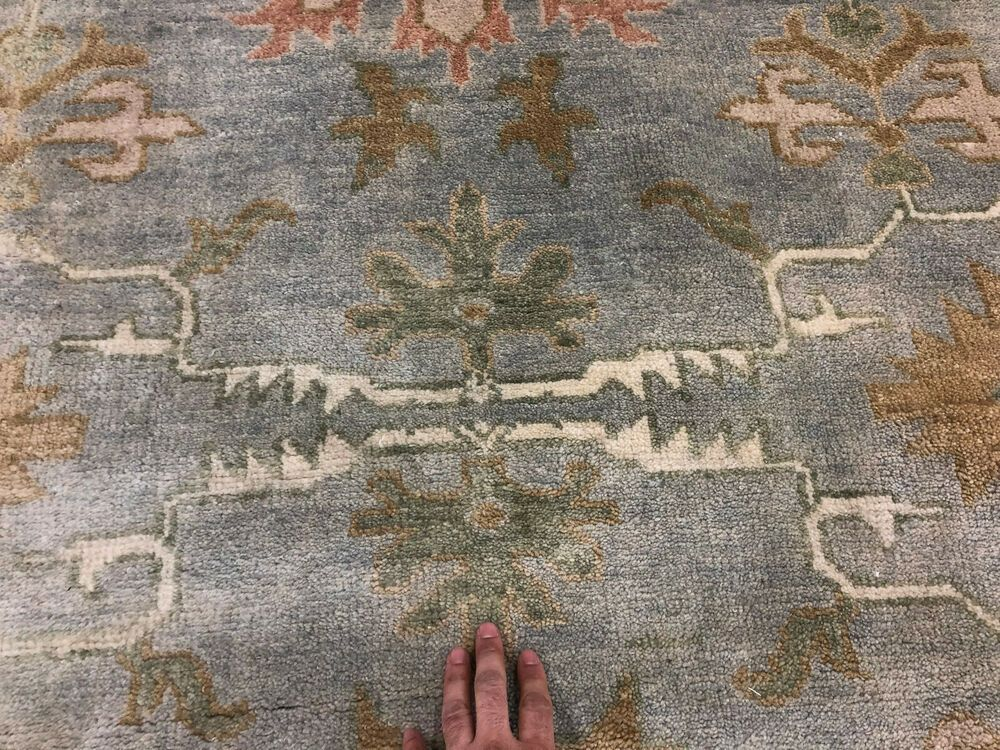 Best 12X15 Muted Blue Hand Knotted Wool Rug Oriental Mute 400 x 300