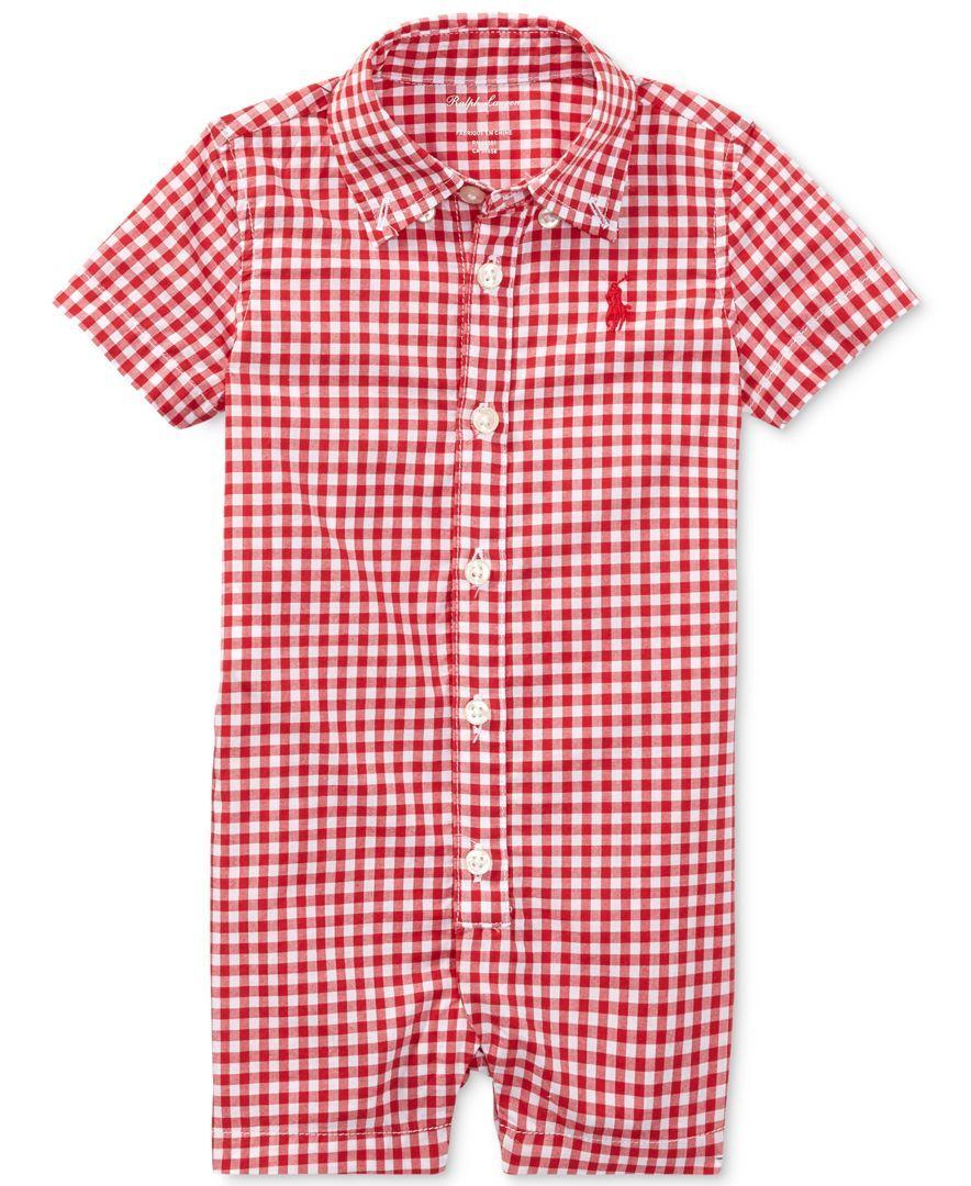 546566d7 Ralph Lauren Gingham Cotton Shortall, Baby Boys (0-24 months) | Products