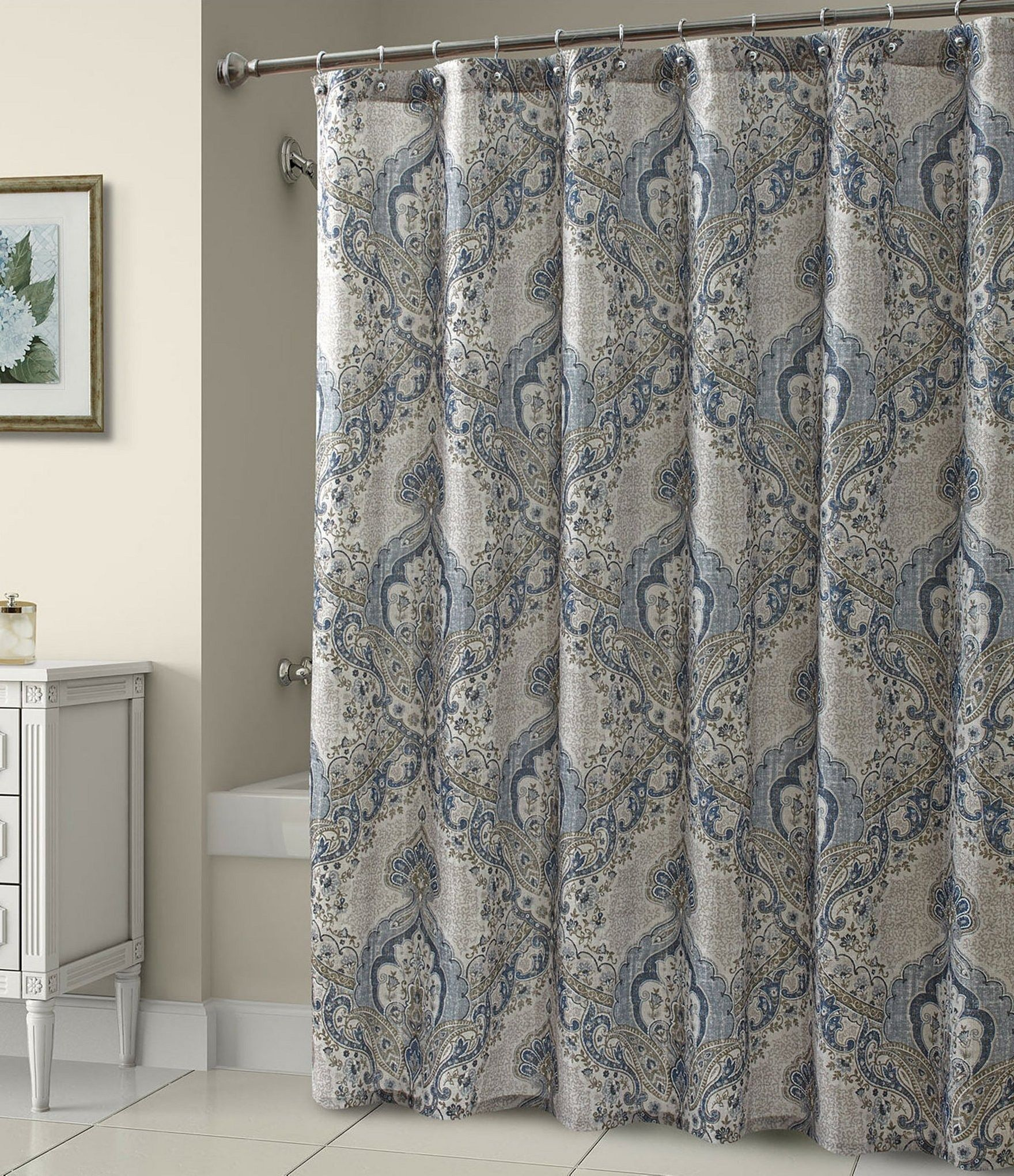 Beautiful Royal Blue And Gray Shower Curtain Cream Shower