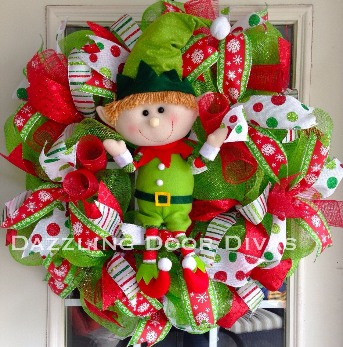 Adorable Elf Deco Mesh Christmas Wreath! Made With Lots Of