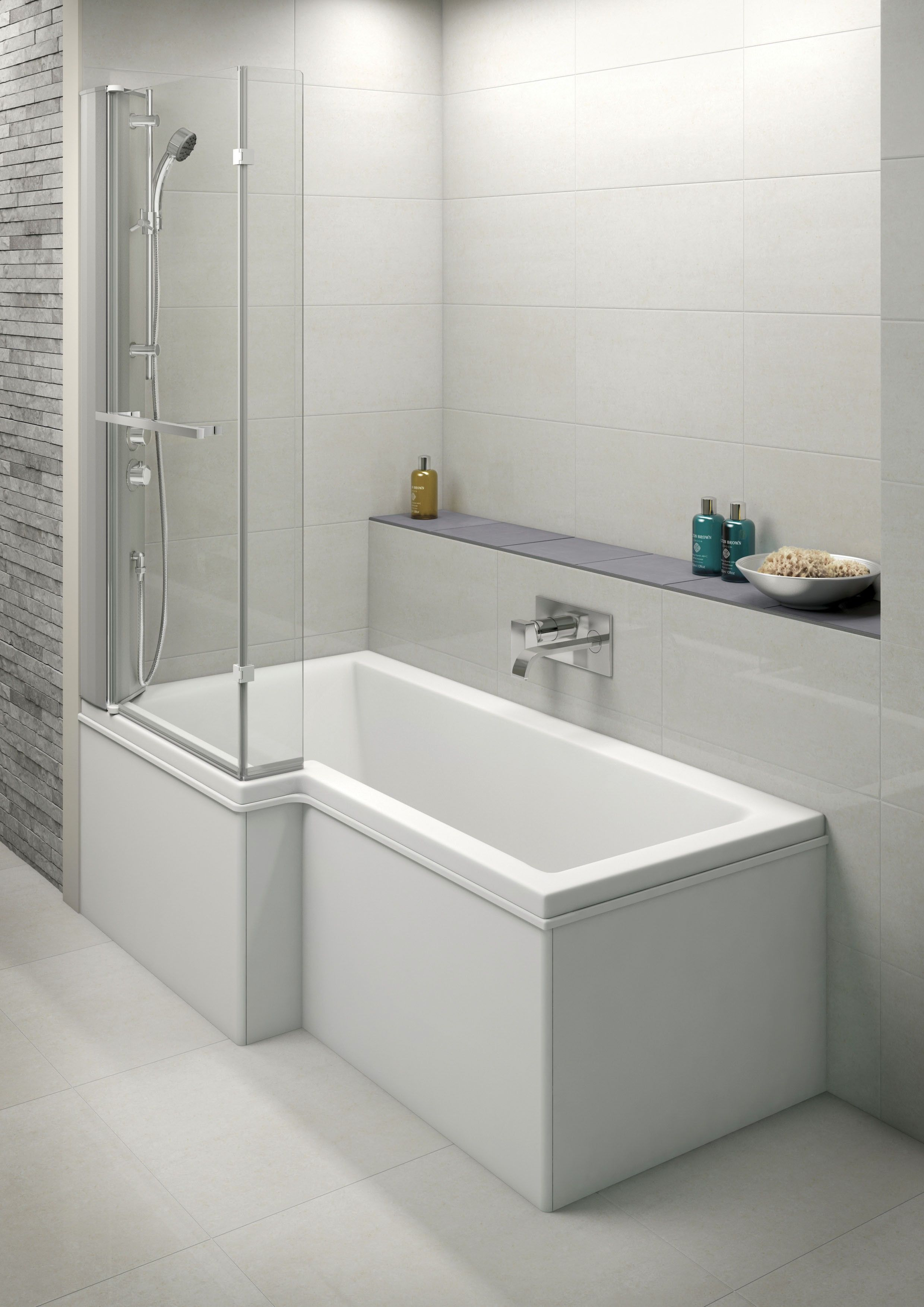 1675x850mm Crosby P Shaped Left Handed Shower Bath Suite