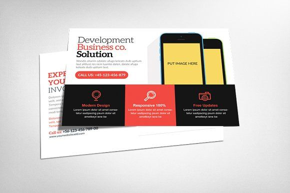 Mobile app postcard template by party flyers on creativemarket corporate business mobile app postcard template wajeb Gallery