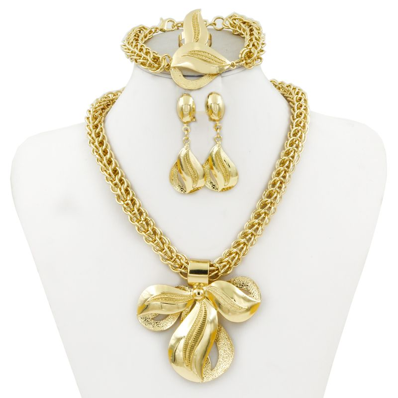 Five Star Fashion Dubai Gold Plated big necklace Jewelry Sets