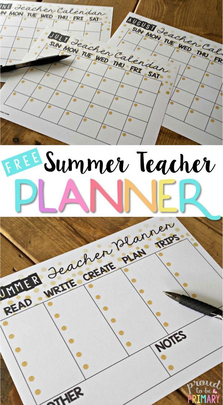 summer teacher calendar planner