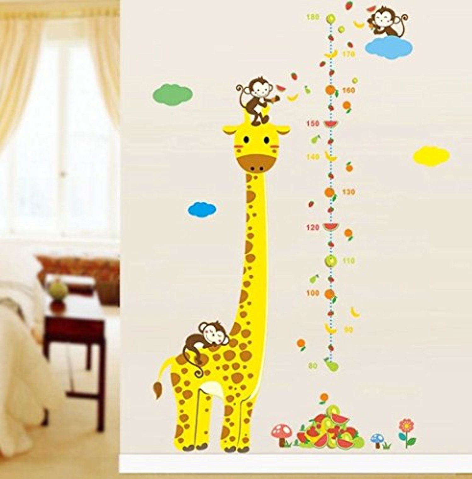 Cartoon Animal Giraffe Monkey Height Measure Wall Stickers For ...