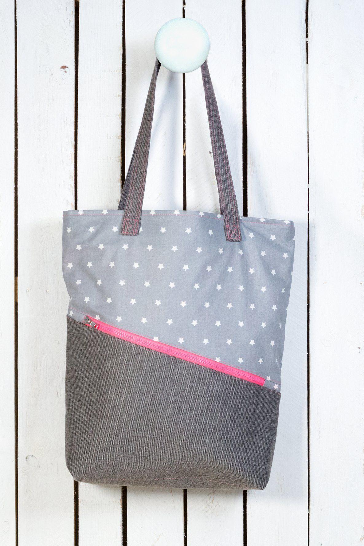 Tasche Muster grau Nähanleitung | Schnittmuster tasche