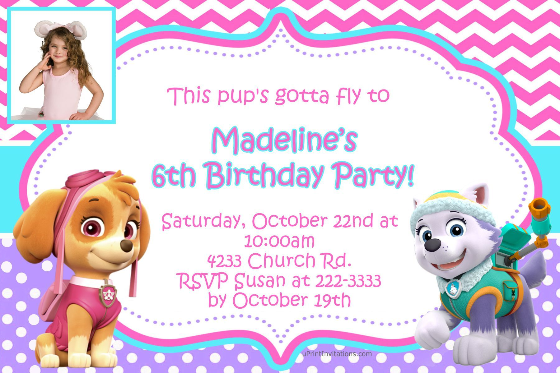 Paw Patrol Skye and Everest Birthday Invitations - Digital Download ...