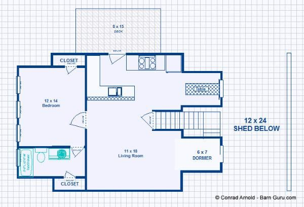 Barn Plans -2 Stall Horse Barn - With Living Quarters ...