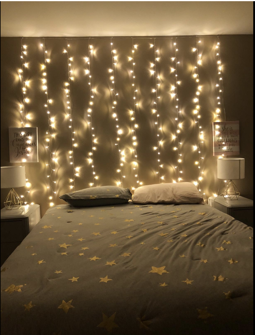 Curtain Fairy String Light Warm White 8 Modes Settings Combination In Waves Sequential Slogs Cha Fairy Lights Bedroom Aesthetic Rooms Aesthetic Bedroom