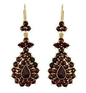 Victorian Bohemian Garnet Teardrop Earrings in 14 Karat Gold