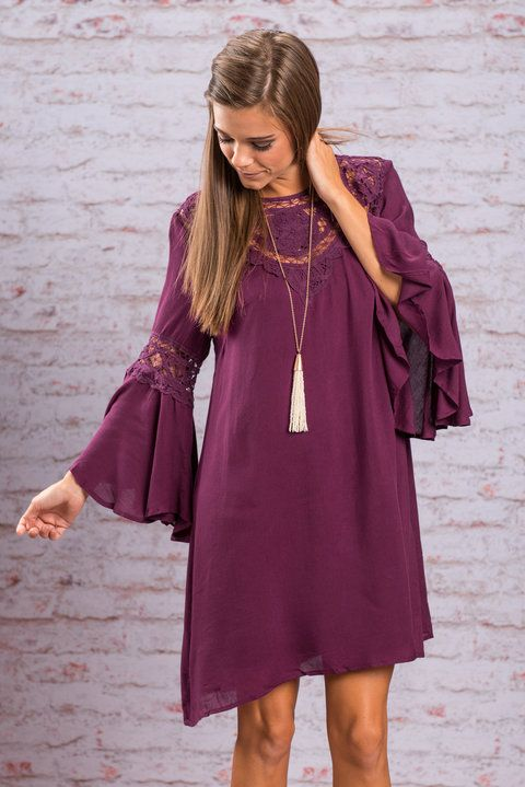 Crochet Detailed Dress - Magenta - The Mint Julep Boutique