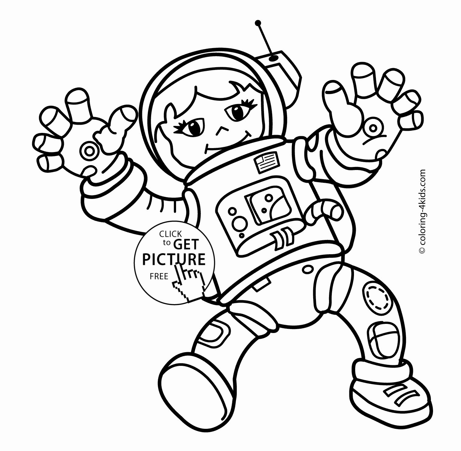 Space Coloring Pages For Kids Unique Spaceman Girl In The