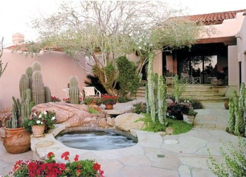 Great Spa Flagstone And Overall Xeriscape Backyard