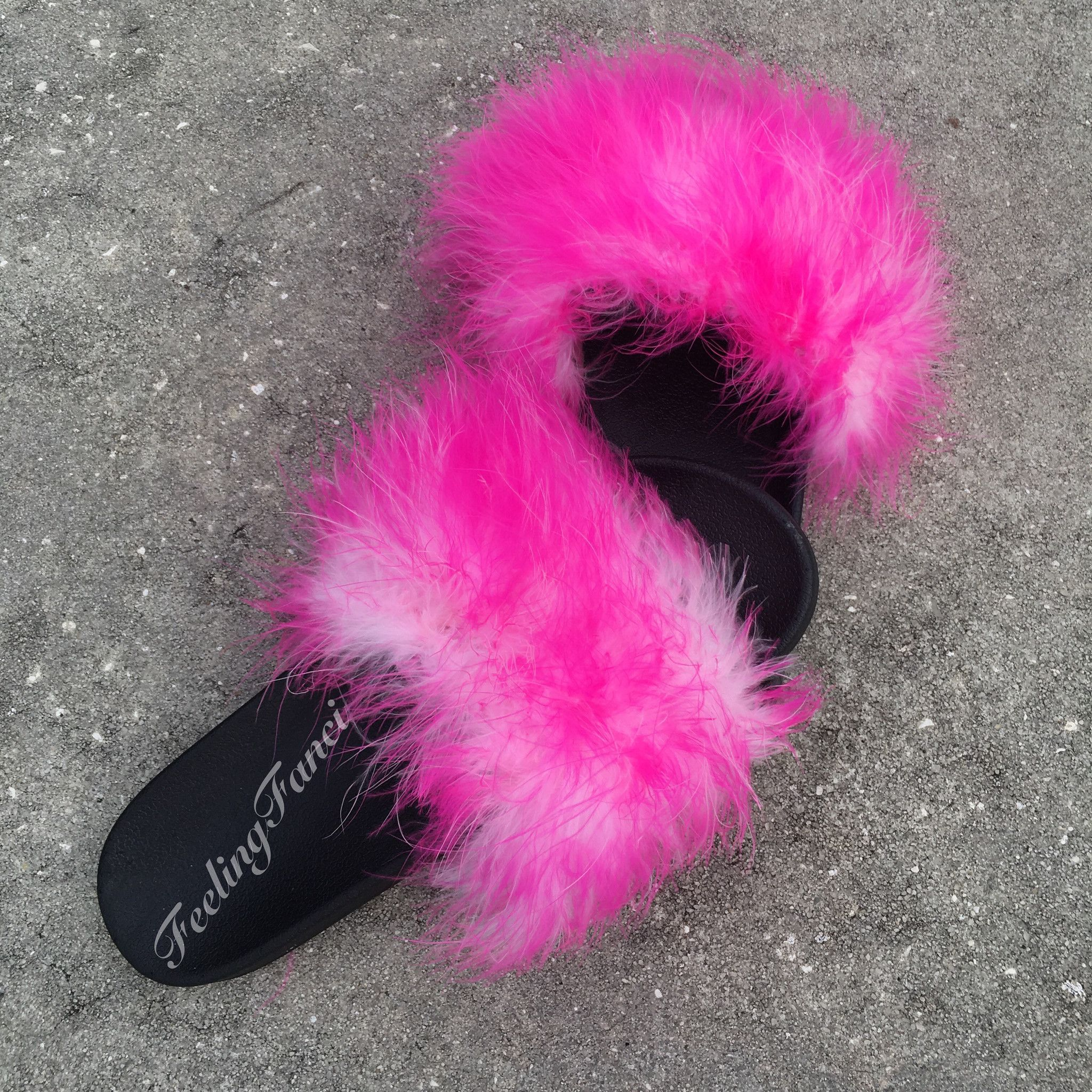f3a806ac6082 Pink Milkshake Faux Fur Slippers fuzzy slides in 2018