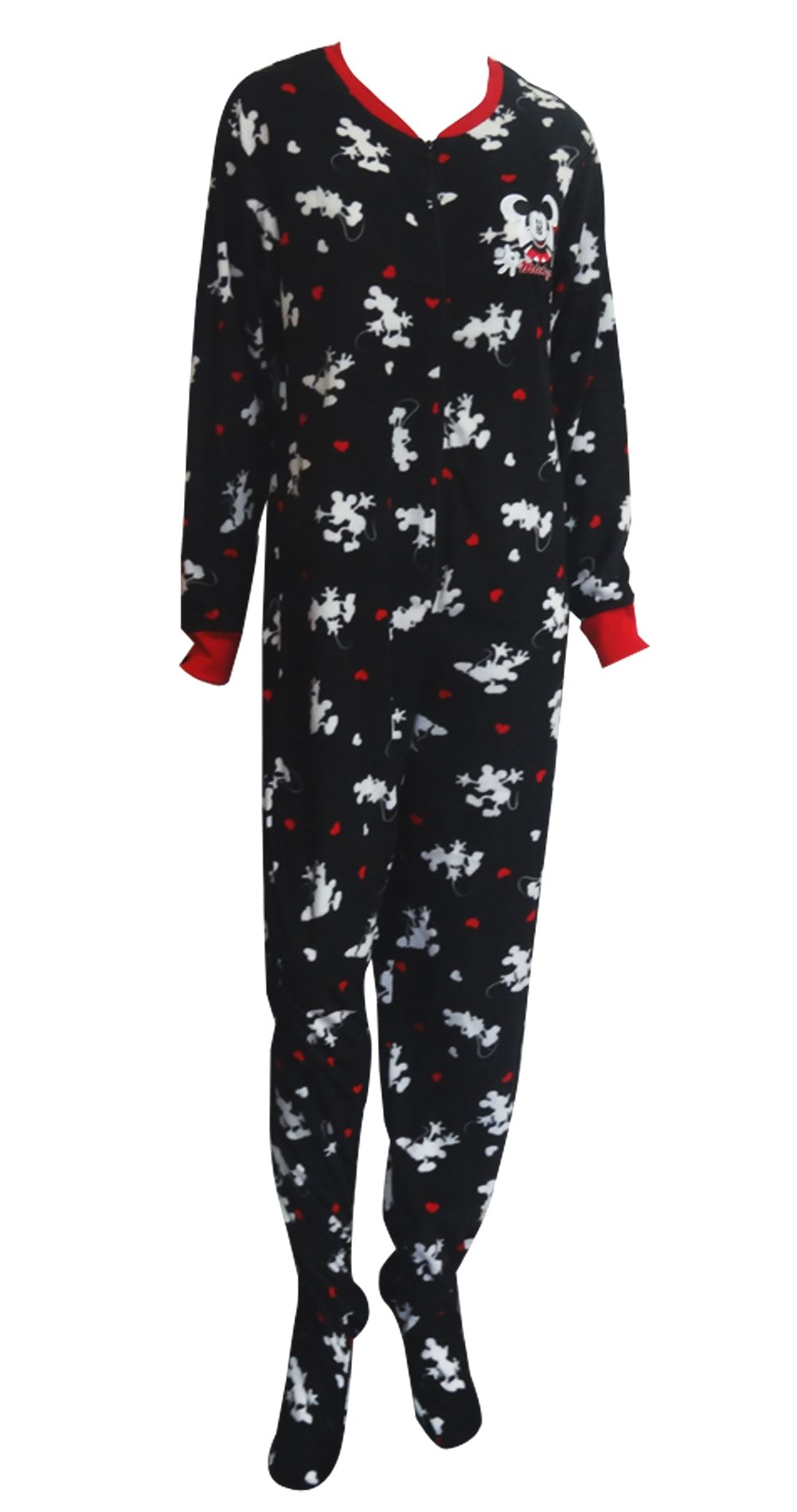 3318cb1cc3c7 Disney's Mickey Mouse Black Onesie Footie Pajama The perfect jammies for  any Disney fan! These pajamas for women feature Disney.
