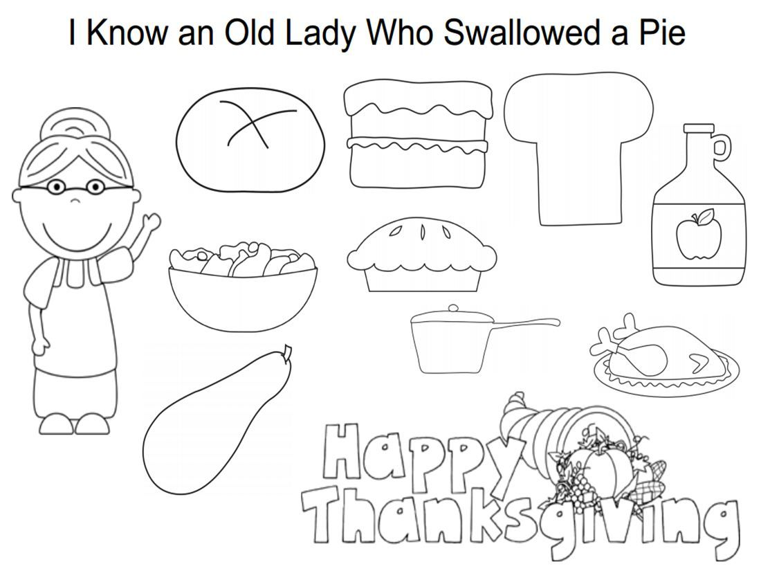 I Know An Old Lady Who Swallowed A Pie Coloring Sheet Http Omazingkidsyoga Files Wordpress Com 2 Gratitude Activities Thanksgiving Lesson Plans Yoga For Kids