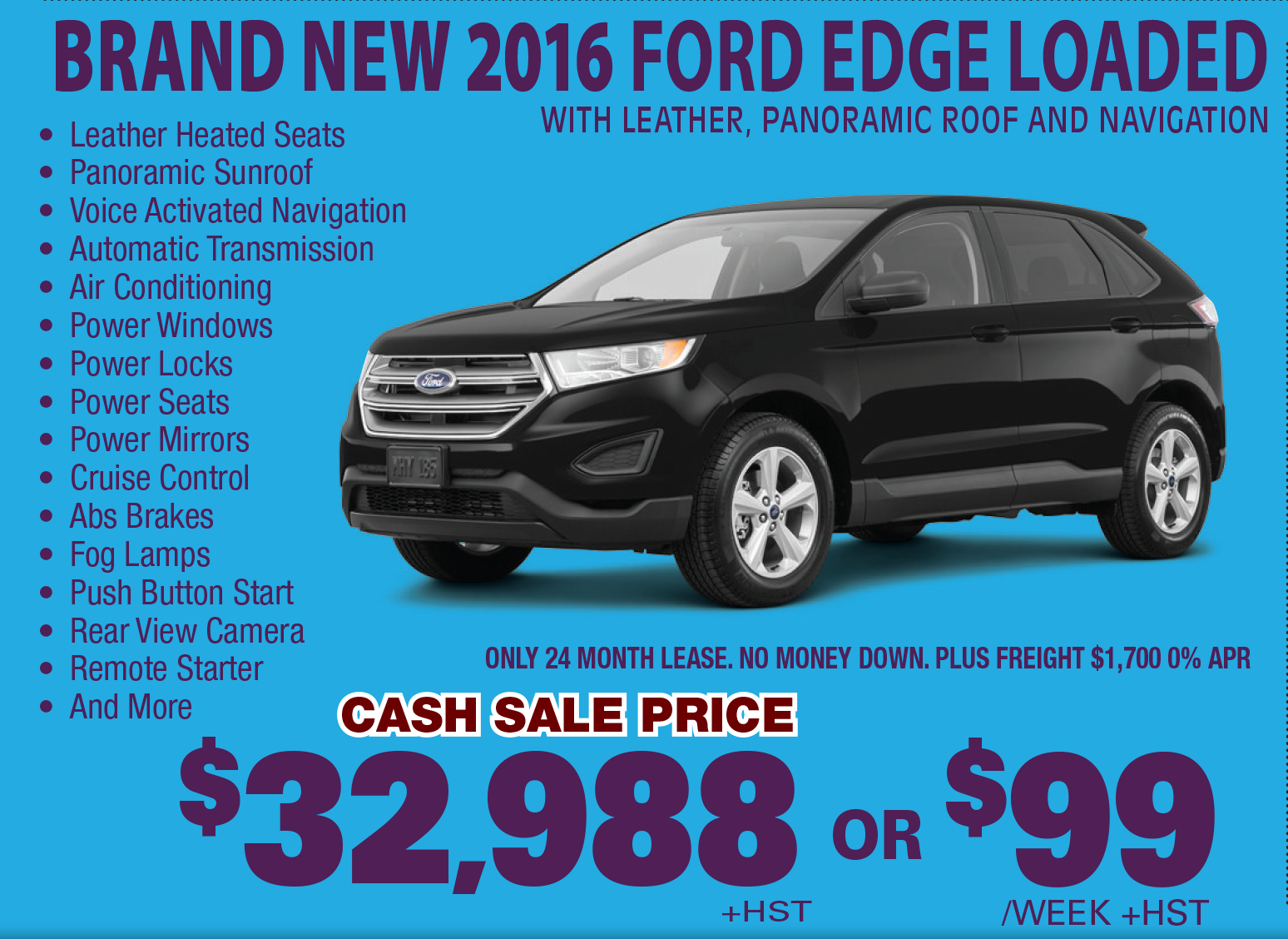 New 2016 Ford Edge Loaded With Leather Heated Voice Activated Navigation Automatic Transmission Air Conditionin Ford Edge Rear View Camera New Cars For Sale